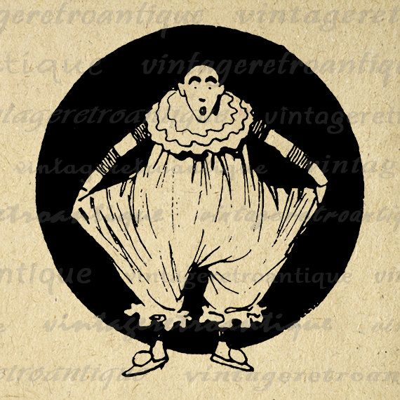 Digital Circus Clown Image Download Graphic by VintageRetroAntique
