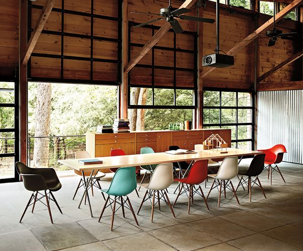 Love all the fun colors on the Eames chairs