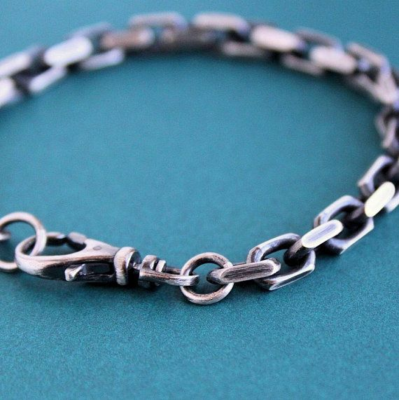 ed74e65cd Large, heavy link sterling silver cable chain wraps around for this mens  rustic style bracelet. The chain links have a beveled edge for extra detail  and are ...
