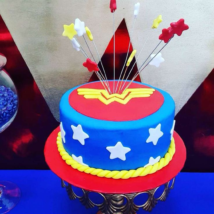 Such a cool cake at a Wonder Woman birthday party! See more party ideas at CatchMyParty.com!