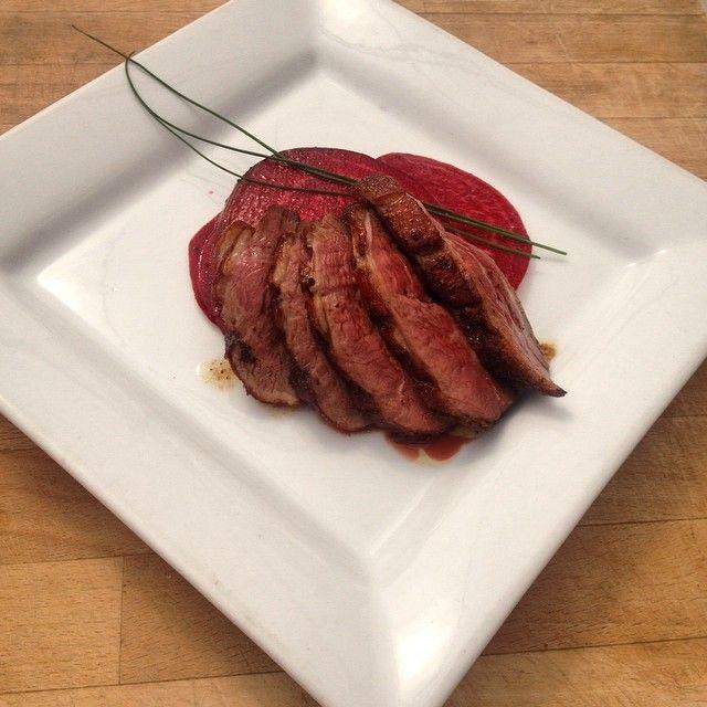 Savory Sambuca glazed duck with sweet crisp beets! CLICK TO WATCH: http://youtu.be/DHjPNZfOtSU?t=19m12s #duck #duckbreast #dinneridea #beet #savoryandsweet