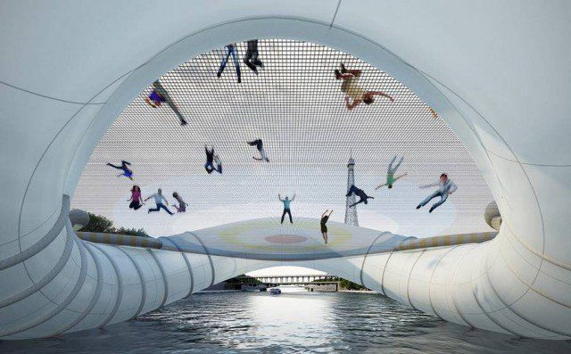 Giant Inflatable Trampoline Bridge in Paris by AZC 3