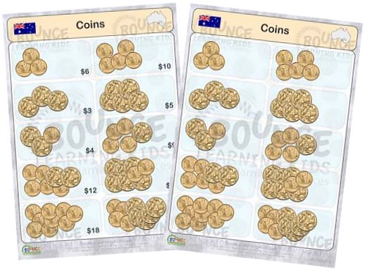 Learn to recognise and count Australia banknotes & coins - counting banknotes & coins 2 - gold coins