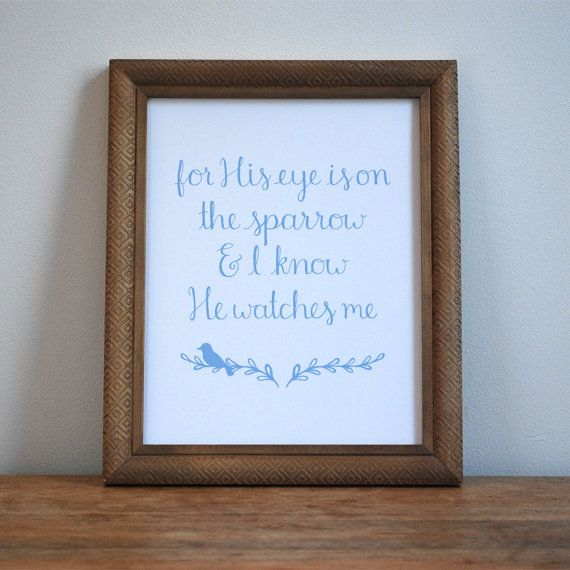 His Eye is on the Sparrow - Hymn Print - Wall Art