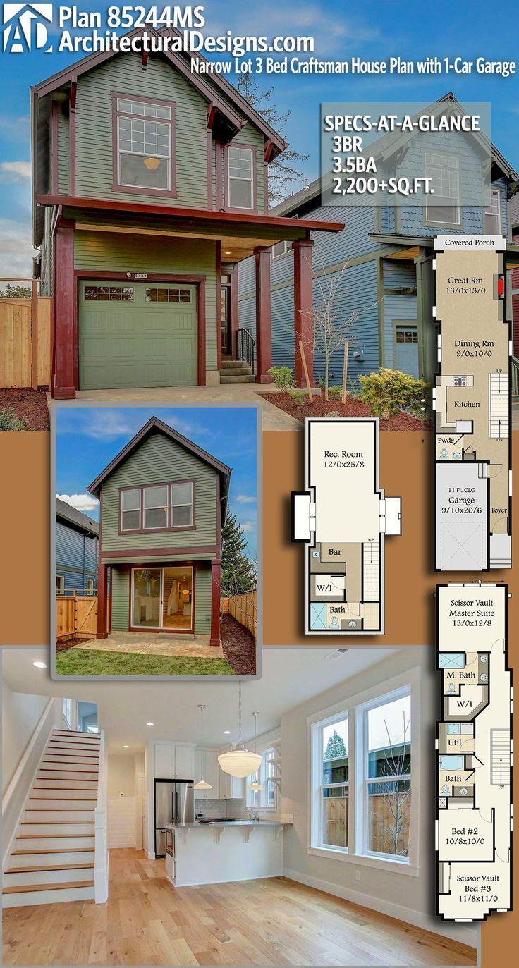 Architectural Designs Craftsman House Plan 85244MS 3BR