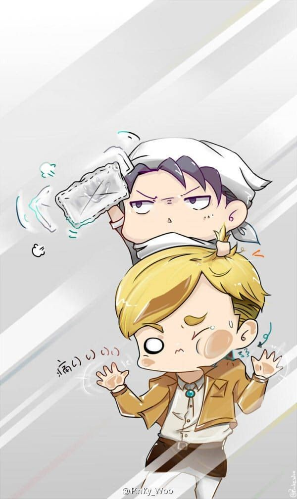 Erwin Smith x Rivaille (Levi) I can't stand the cuteness of these chibi