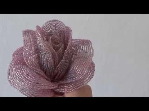 How to make a rose with beads - Beaded rose tutorial  - French beaded rose - YouTube