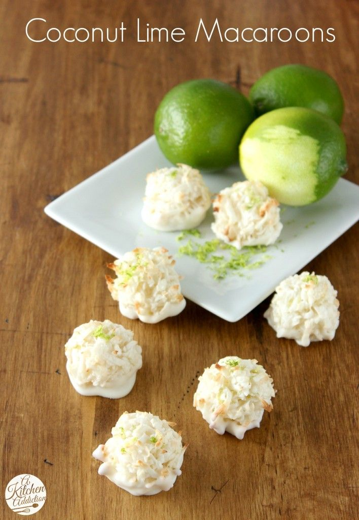 Coconut Lime Macaroons Recipe l www.a-kitchen-addiction.com