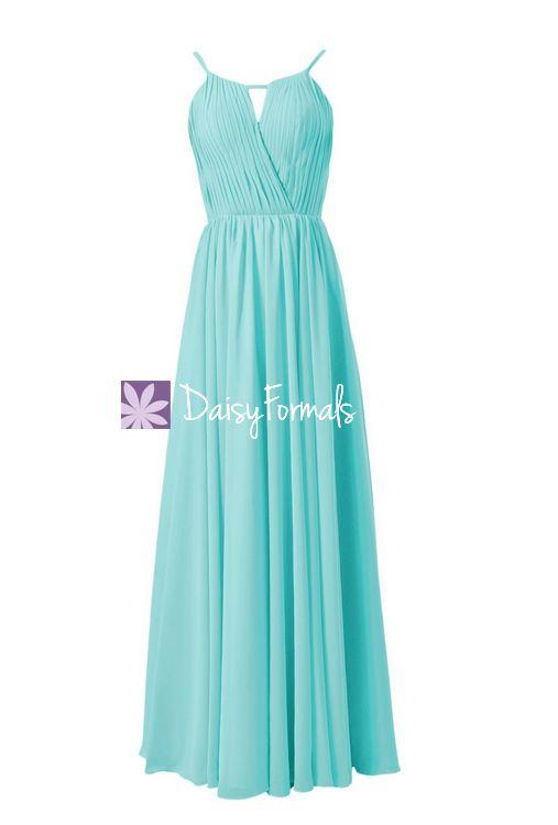 Unique Aqua Evening Dress Halter Floor Length Party Dress Tiffany Inspired Bridesmaid Dress(BM10826L)