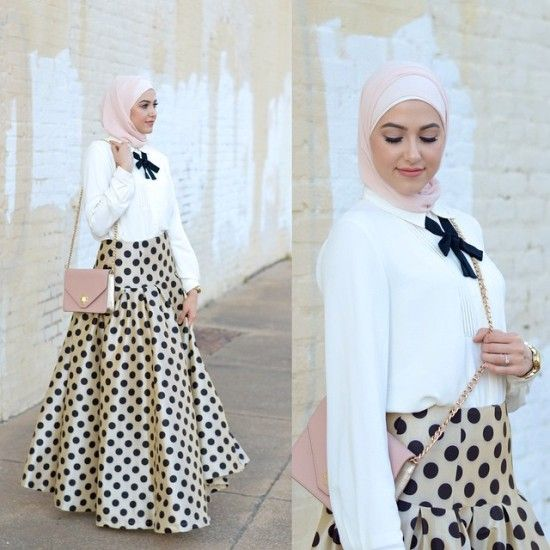 polka dots maxi skirt hijab, Classy hijab outfits http://www.justtrendygirls.com/classy-hijab-outfits/