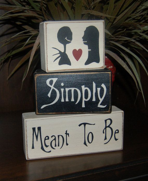 Jack Skellington Disneys Haunted Mansion Simply Meant To Be Jack And Sally Primitive Sign Blocks Blocks Wedding Shower Birthday Home Decor