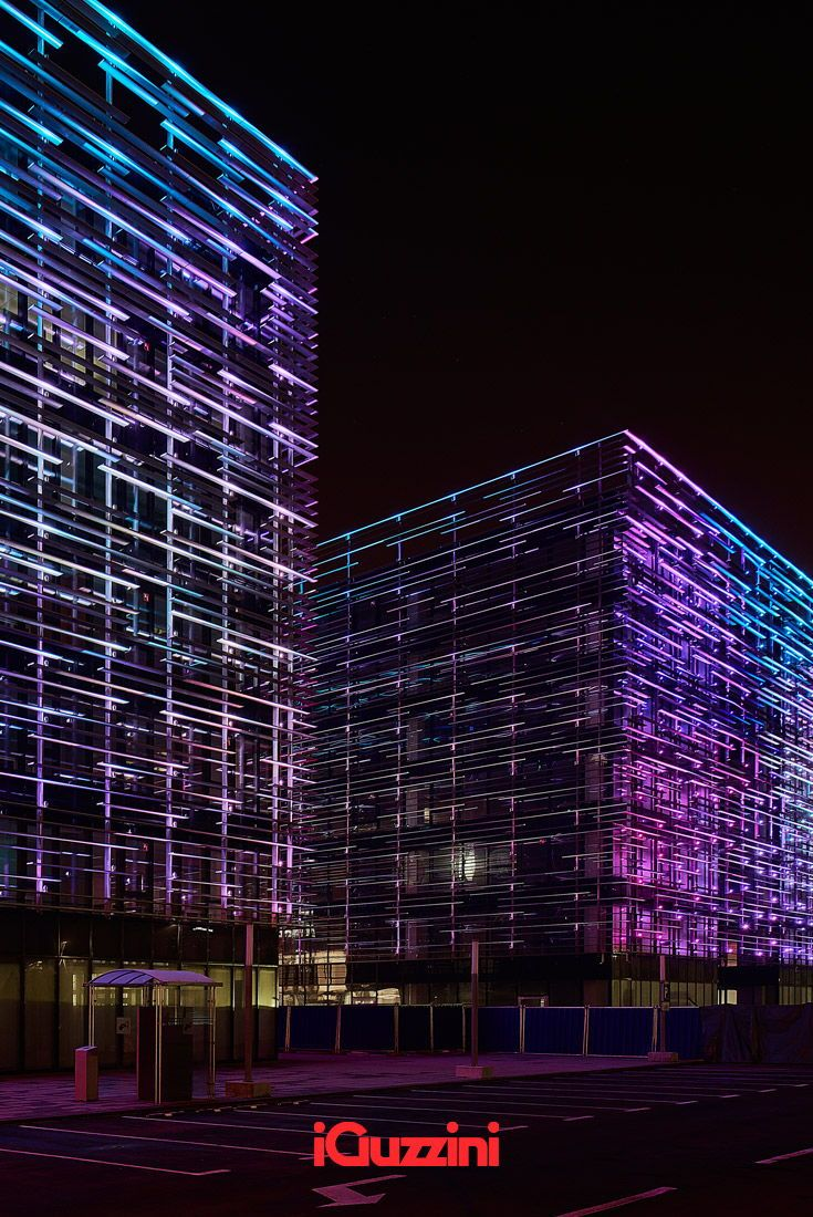Dynamic And Coloured Lighting For Matrix Office Park In Zagreb A Lighting Project By Skira Lighti Facade Lighting Light Architecture Light Project