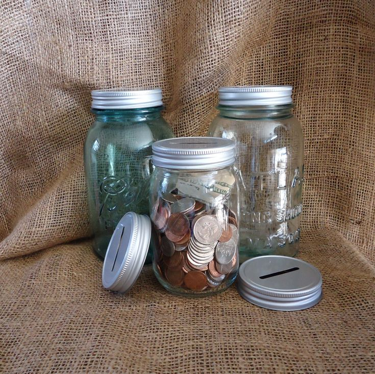 3 Coin Jar Lids Mason Jar Piggy Bank Mason Jar by masonjardecor