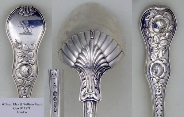 Rose pattern Basting Spoon London 1821 by William Ely and William Fearn