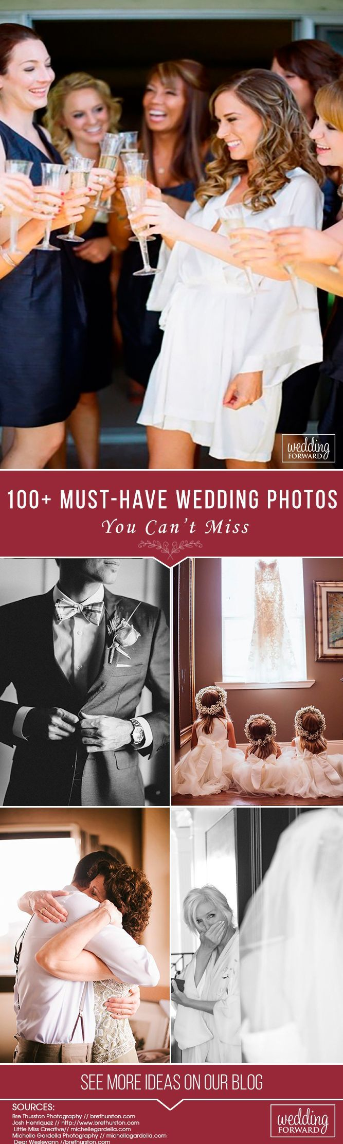 100+ Must-Have Wedding Photos (Ideas Gallery & Tips)Hairstyles ❤️Gallery of absolutely must-have wedding photos to have in your wedding pictures album. Build your checklist and share these with your wedding photographer. See more: http://www.weddingforward.com/must-have-wedding-photos/