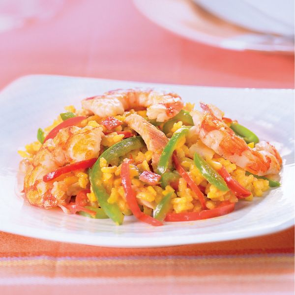 WeightWatchers.fr : recette Weight Watchers - Wok de riz façon paella