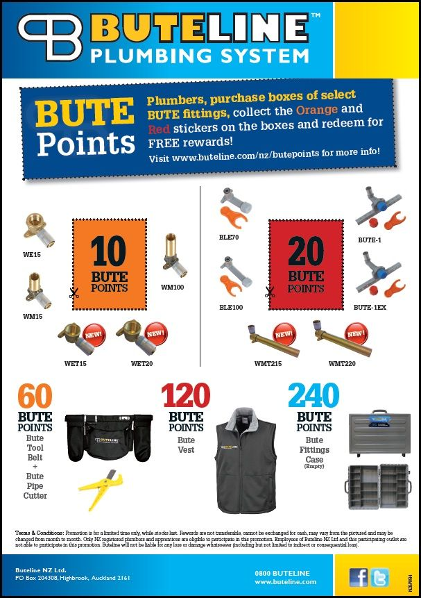 Bute Points Promo updated May 2014: Collect points stickers and redeem for new rewards! See www.buteline.com/nz/butepoints for more info.