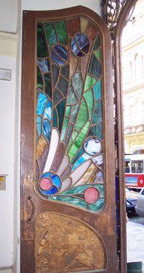 Art nouveau door in Prague