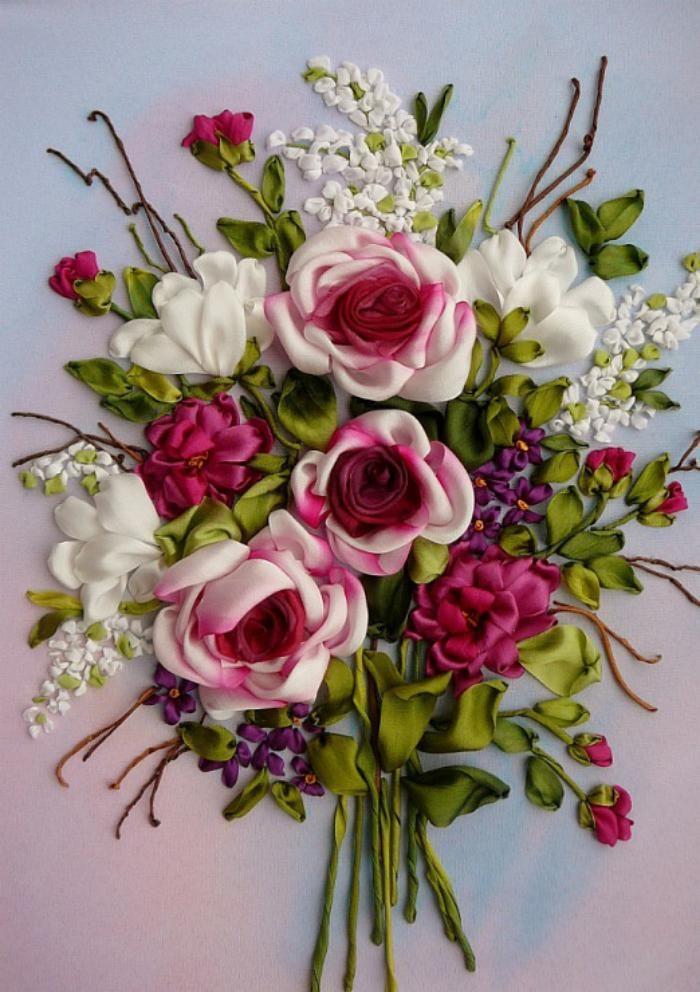 broderie au ruban, jolie composition de fleurs