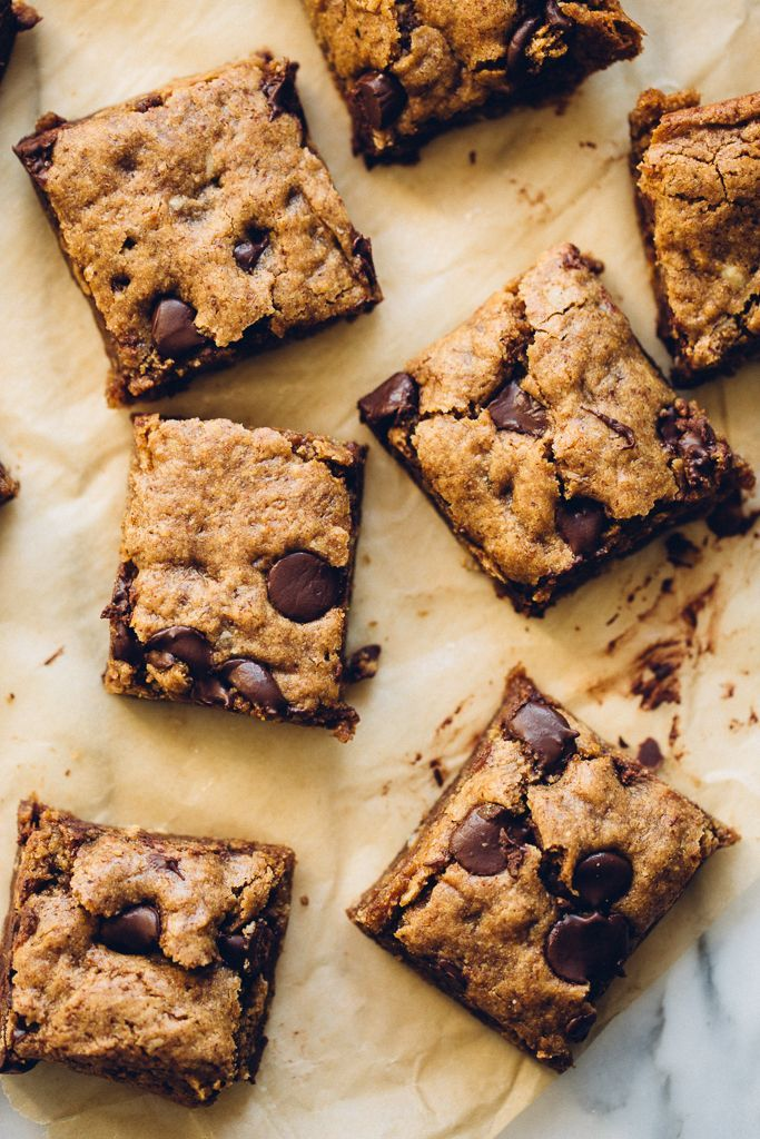 Gooey Almond Butter Oatmeal Chocolate Chip Cookie Bars.