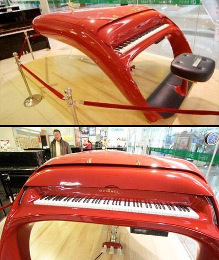 Ferrari Piano.  Schimmel Pegasus Guoqin piano was inspired by Ferrari sport cars.