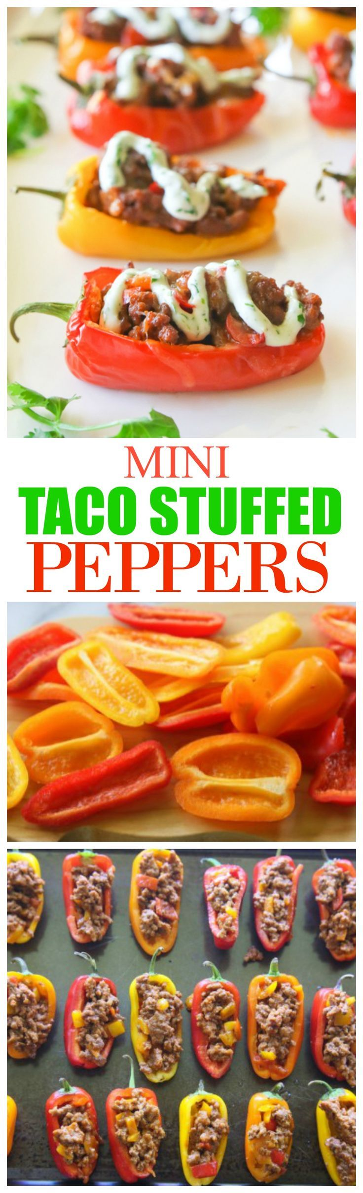 Mini Taco Stuffed Peppers - mini bell peppers stuffed with taco meat and drizzled with a cilantro cream sauce. http://the-girl-who-ate-everything.com