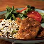 Smothered Pork Chops with Thyme Recipe | MyRecipes.com - Ringing in at under 150 calories per serving, these flavor-packed chops are a quick and easy dinnertime solution. Serve with brown rice pilaf and a fresh green bean salad for extra fiber and nutrients.  #lowcalorie