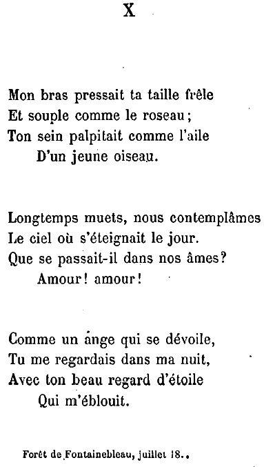 Le 22 août 1834, Victor Hugo arrive à Étampes avec sa maîtresse Juliette Drouet, depuis Pithiviers et Yèvre-le-Chastel. Il y met par écrit ce poème tout inspiré par la passion que lui inspire Juliette Drouet. Le même jour il écrit une lettre à sa femme Adèle, ainsi qu'un billet touchant à leur fille Léopoldine. Ce poème, publié en 1856 dans les Contemplations, a inspiré au moins trois compositeurs et une artiste peintre.+++++