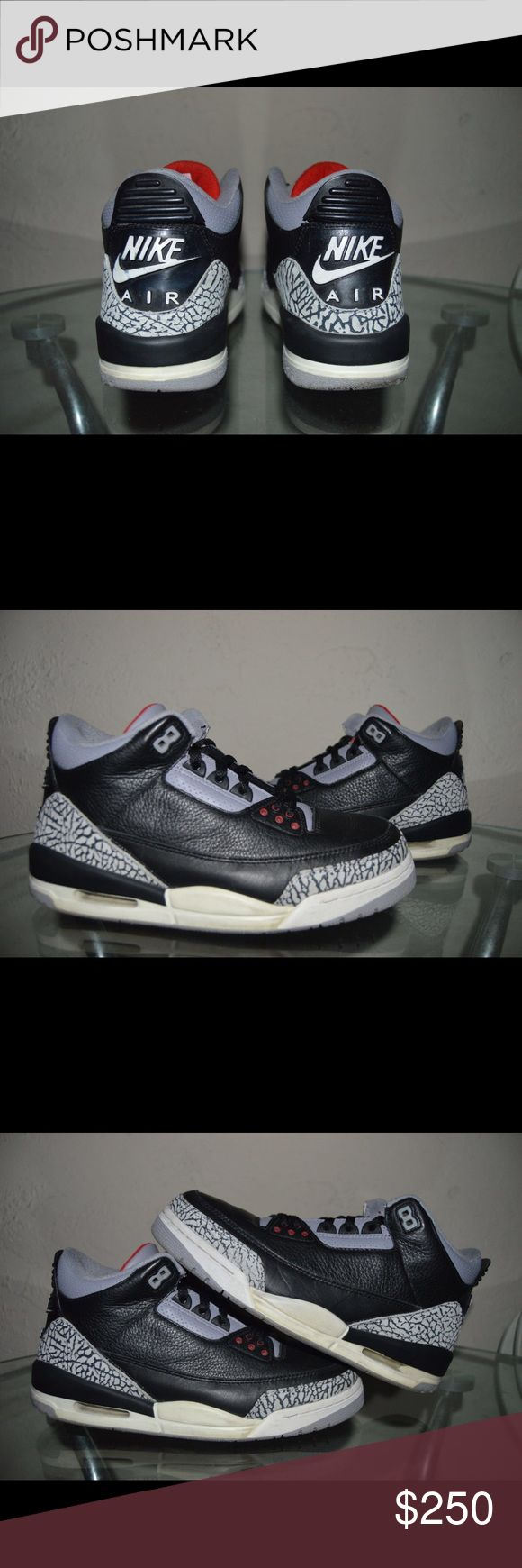 "2001 Nike Air Jordan Retro 3 ""Black Cement"" Size 9 100% Authentic Og Jordan 3s Not sure if wearable but midsole is still strong Upper Heel tab is kind of ripping off shown in picture Comes with Original everything Delivered and shipped out Now! Nike Shoes Sneakers"
