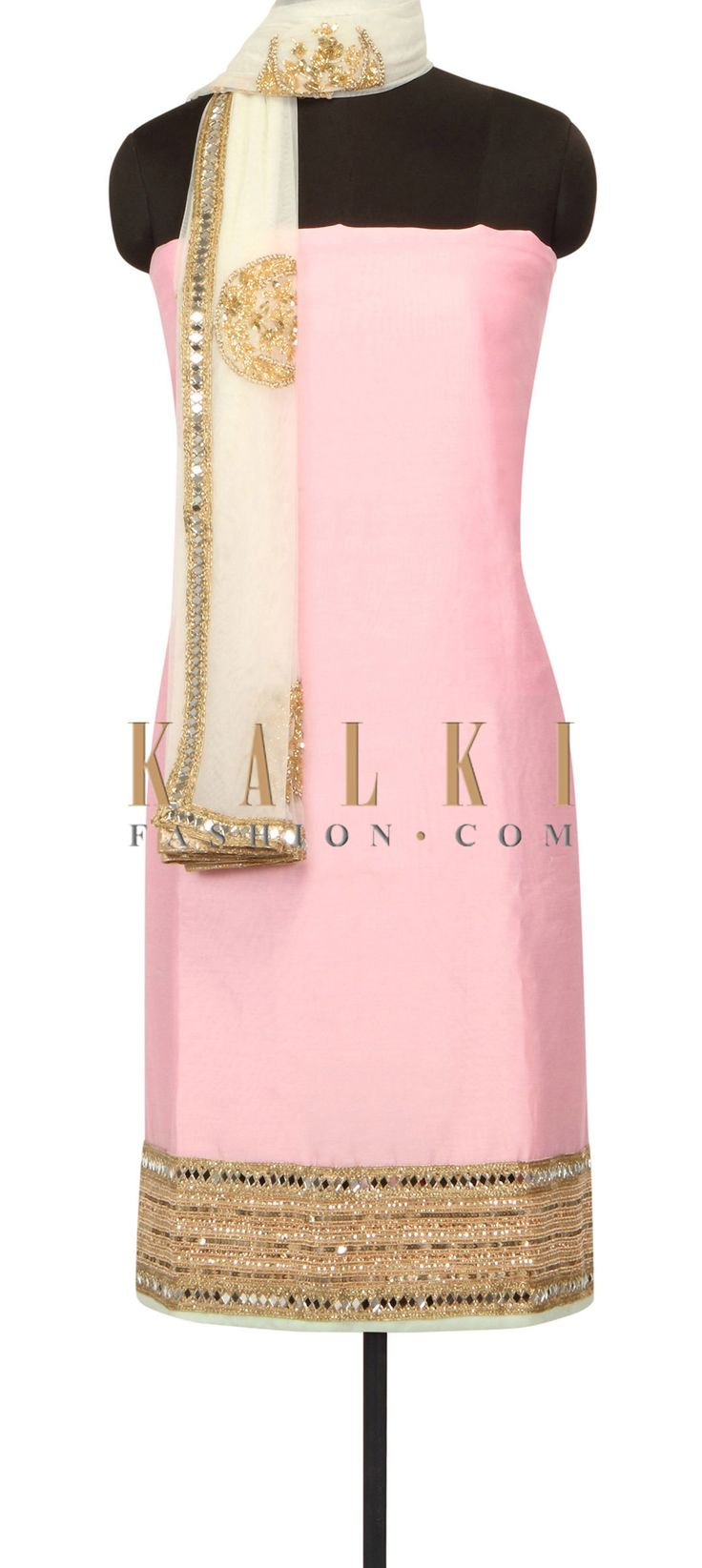 Pink unstitched suit with sequin and mirror embroidery only on Kalki