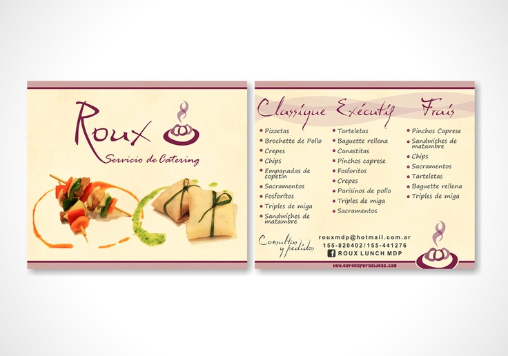 Folleto para Servicio de Catering.  Frente y dorso full color.