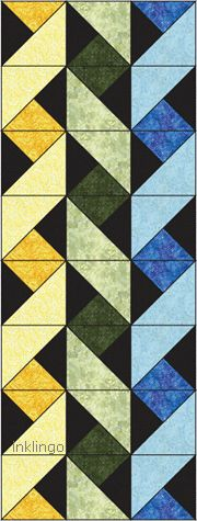 Easy Ribbon Quilt - half and quarter square triangles and clever use of color.