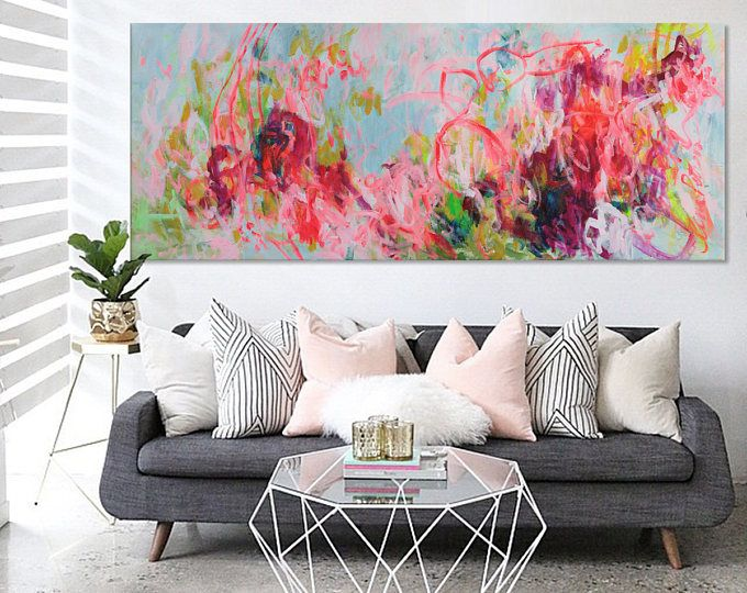 large abstract seascape painting bold white yellow pink contemporary wall art painting 'happy landscape ' Elena