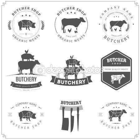 Ensemble d'étiquettes Boutique Boucher et éléments de conception — Illustration #21085315