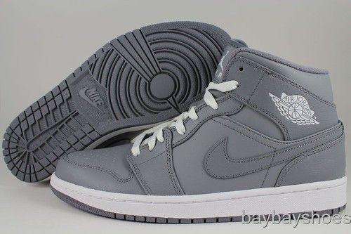 Nike Air Jordan 1 Mid GS Cool Gray White Phat Hi High Women Boys Kids Youth Size | eBay