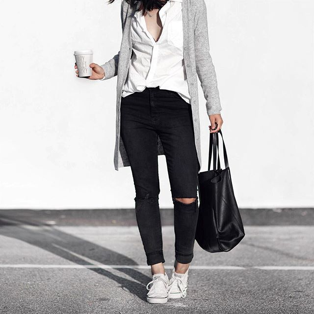 simple white button down shirt, layering with grey sweater top up with white sneakers