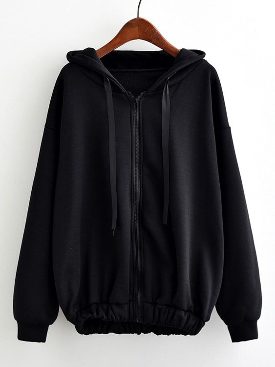 Shop Hooded Drawstring Elastic Hem Zip Up Jacket online. SheIn offers Hooded Drawstring Elastic Hem Zip Up Jacket & more to fit your fashionable needs.