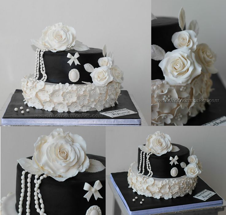 Vintage Black and White Roses cake for the 21st birthday of a pretty young girl.  Cake inspired by BakedCakesandCupcakery with some additions\changes www.thedreamcakes.com www.facebook.com/TheDreamCakes