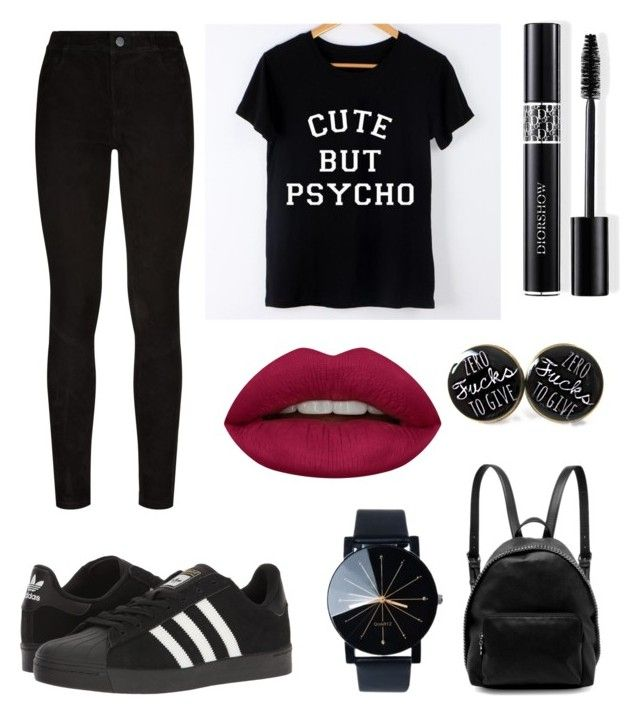 Full black by olahtory on Polyvore featuring polyvore, moda, style, Paige Denim, adidas, STELLA McCARTNEY, Huda Beauty, Christian Dior, fashion and clothing