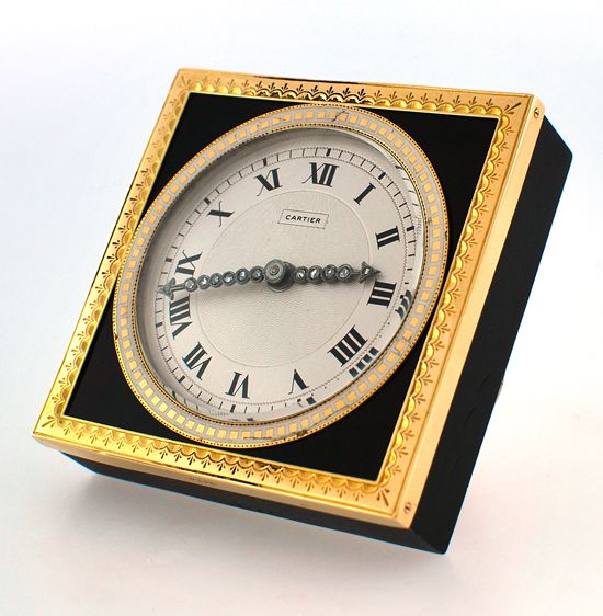Cartier Onyx & 18K Gold Desk Clock with Diamond Hands. Circa 1930. Paris.