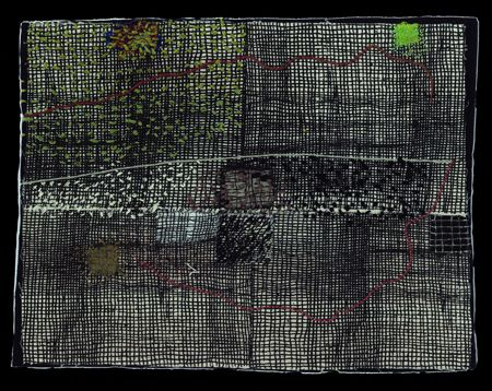 Dorothy Caldwell, Following the Sound of Birds, 2011, wax resist and silkscreen discharge on cotton with stitching and appliqué, 9 1/2 X 12 1/4 in., framed 16 5/8 X 18 1/8 in.