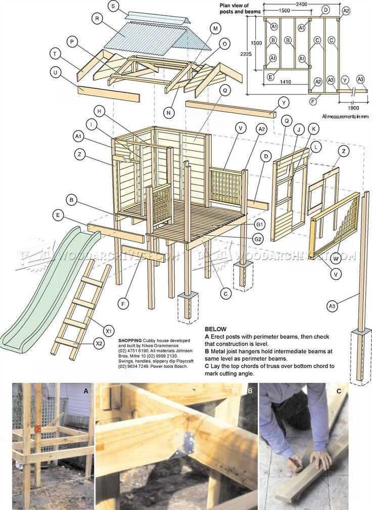 #3072 Backyard Playhouse Plans - Children's Outdoor Plans