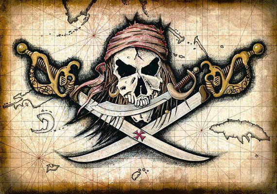 Chompers - Pirate Skull and Swords - Pirate Flag Artwork - Pirates - Jolly Rogers - Pirate Skull - Pirate Prints - Treasure Maps - Skulls