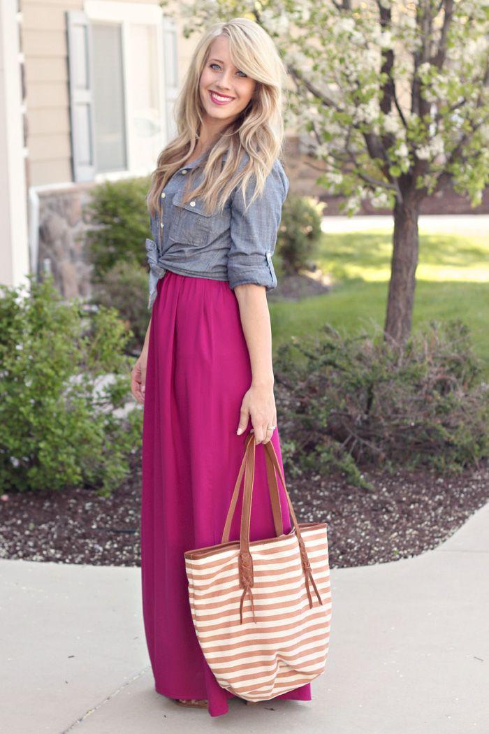 pink maxi dress denim shirt