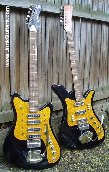 Two Russian-made guitars from the Rostov-On-Don factory in the 1980's. Stella, on the left and Aelita on the right - from Junk Guitars.com