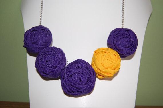Purple & Yellow/Gold Team Colors Rosette Necklace: 12 00 Lsu, Lsu Washingtonhuskies, Necklace Lsu, Colors Rosette, Geaux Lsu, Yellow Gold Rosette, Fall Color
