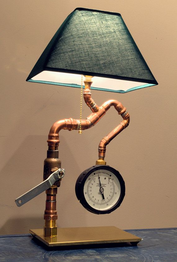 Cool Steampunk Industrial Lamp by ElecGuitarBuilder on Etsy, $225.00. Cool, BUT...the lampshade is wrong. Should look like a shower curtain, lol!