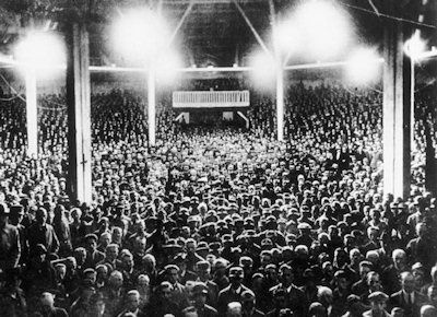 The crowd attending a Hitler speech inside the Circus Krone building in Munich about 1925.