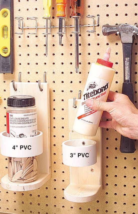I'm a neat freak and I jump at any idea that keeps stuff off my bench. I built a glue bottle perch for my pegboard just for that reason. It's just a couple of boards with a cutoff section of PVC pipe screwed to the back and a pair of holes for the peg hangers. The PVC ring keeps the bottle secure on its …