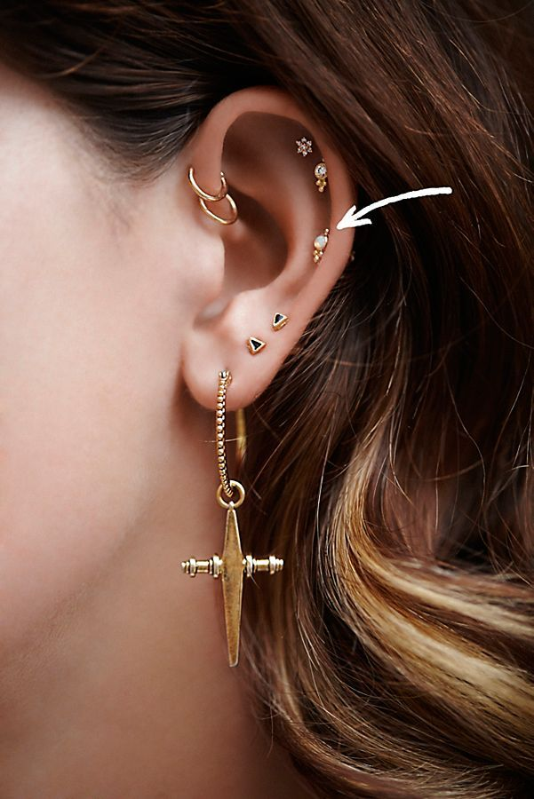 Opal Trinity Helix Stud Ear Jewelry Cartilage Jewelry Multiple